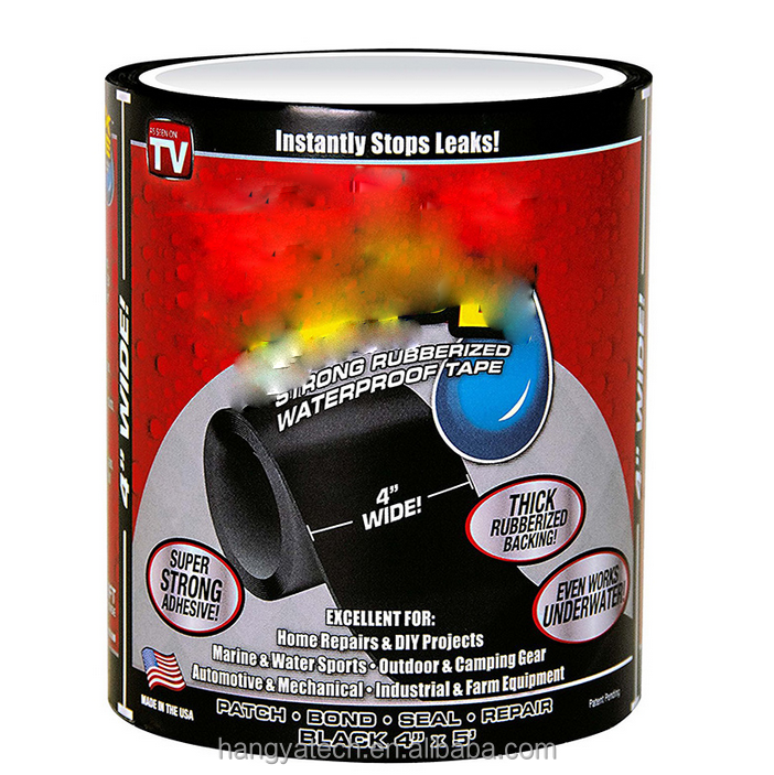 "HOT As seen on TV Strong Flex Rubber Rubberized Fabric Tape Waterproof Self-adhesive Tape 4"" x 5'"