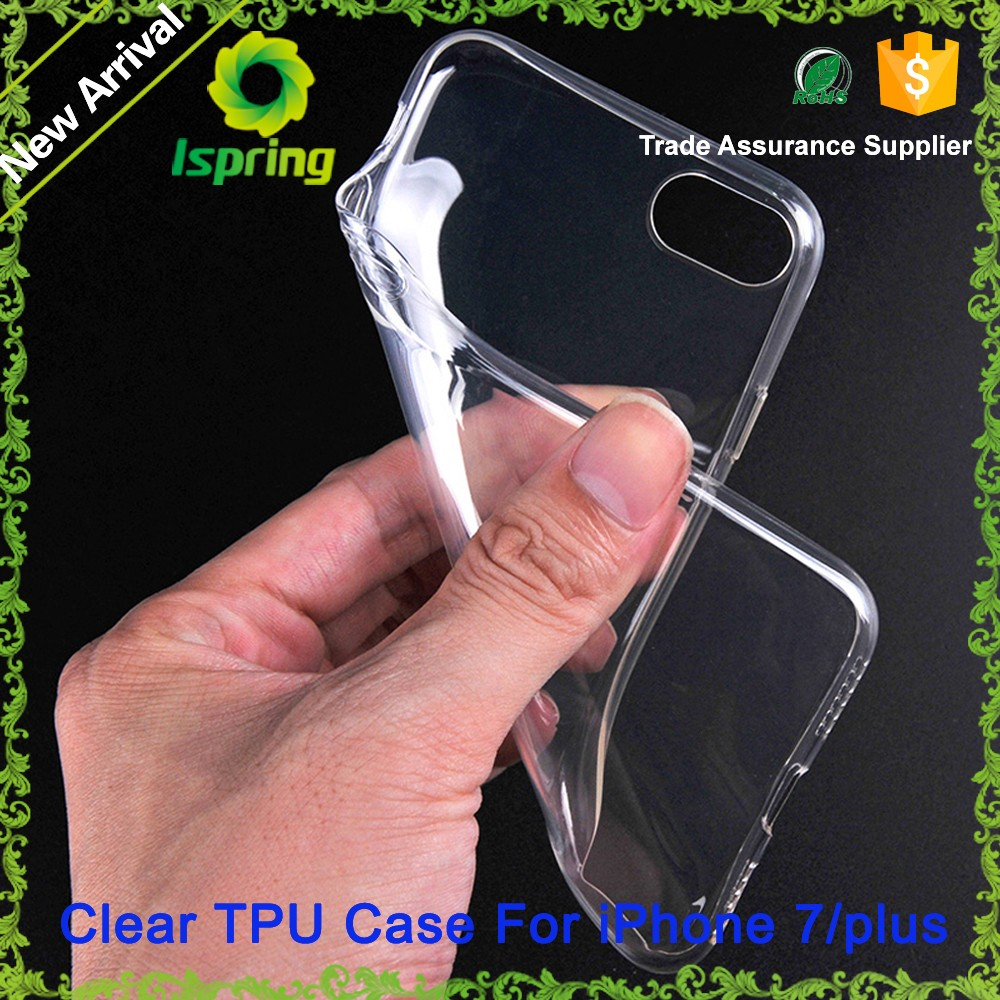Hot sell 2016 products for iPhone 7 Plus Case Back protector , Ultra Thin Clear Crystal Transparent TPU Case Cover for iPhone 7