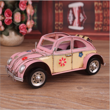17hot sale vintage ornaments handmade metal craft european style iron car model with many colors for home&desk decoration
