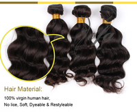 Unprocessed virgin hair body wave, color 1B virgin hair body wave, brazilian hair color 1B