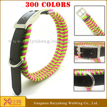 reflective braided leather dog collar for hunting dog training