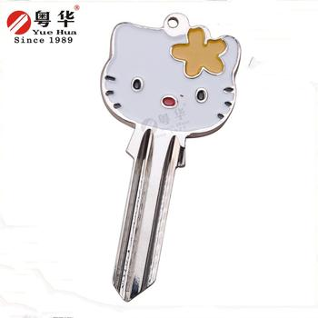 High quality good price fashion custom hello kitty cat painted keys for door lock/hotel lock/cylinder lock