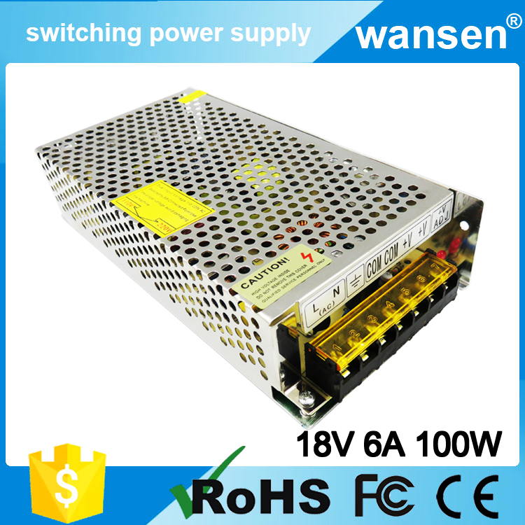100W 18V 6A Power Supply S-100-18 Wansen Single Output Switching Power Supply