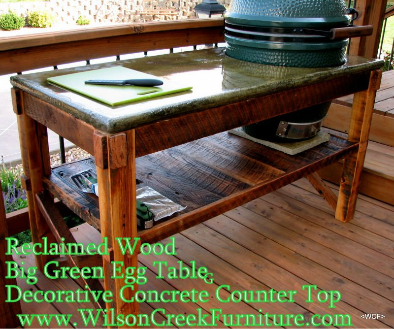 Big Green Egg Reclaimed Wood Tables/ Concrete Tops