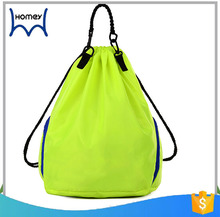 hot sale fashion portable folding drawstring nylon sports backpack bag