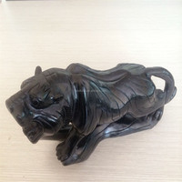 Obsidian Tiger figurine Chinese zodiac animal carvings