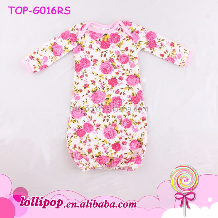 Valentines Day Floral Printed Infant Baby Sleep Gown Dress Pajamas Soft Cotton Baby Sleeping Gown Pictures For Children Gown
