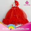 Red tulle baby feather dress cocktail dress for children LBE4092294