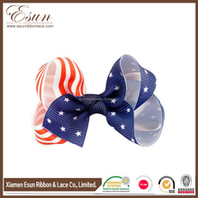 July 4th American National Day Hair Bows 3 inch American Flag Print Patriotic Hair Bows