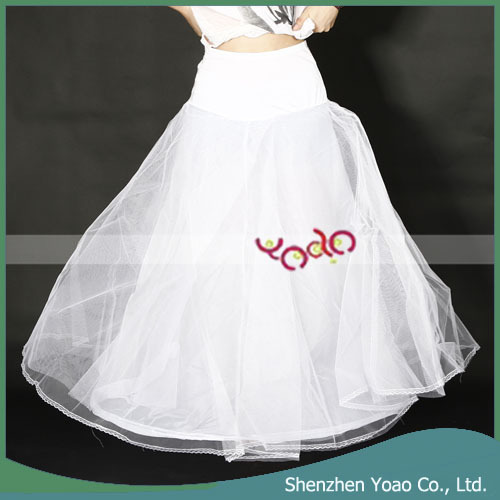 1 Hoop 3 Layer Wedding Bridal Gown Dress Underskirt Petticoat White