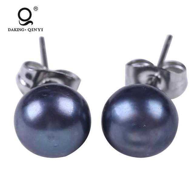 Fashion Jewelry Ladies Wedding Silver Freshwater Pearl Stud Earrings