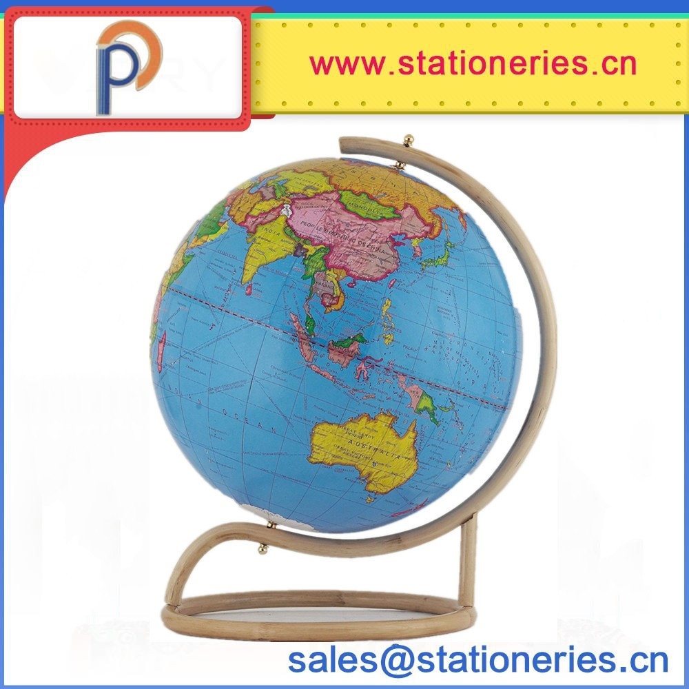 High quality world globe with Wooden base,paper world globe