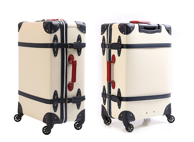 Eco-friendly PVC+PP material vintage luggage trolley suitcase set leather suitcase