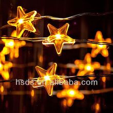 UL listed safe to touch copper wire star shape led string lights