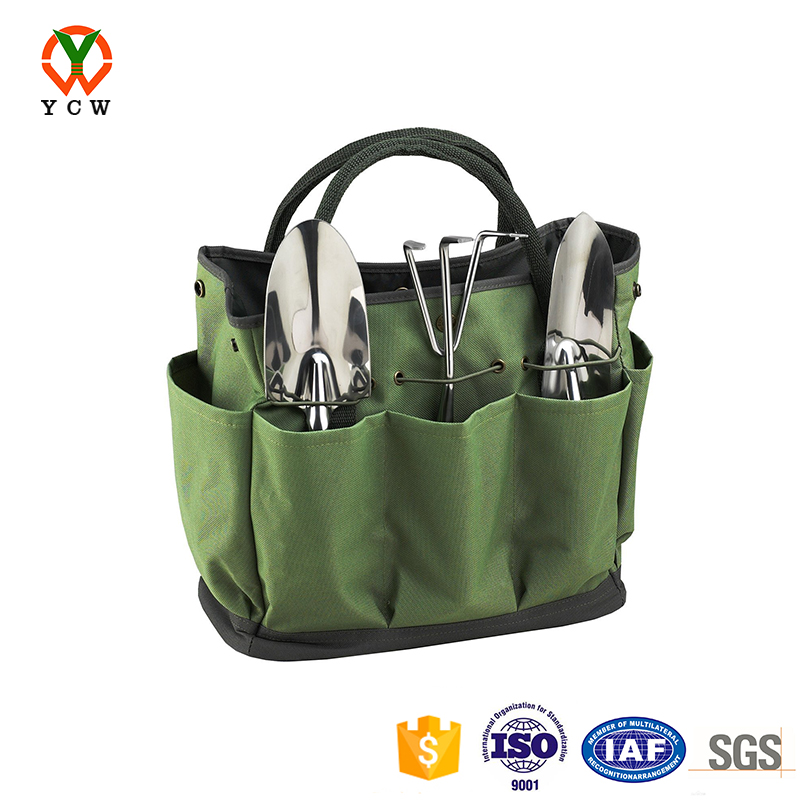 Attractive multi pocket gardening tote tool bag with grip handles