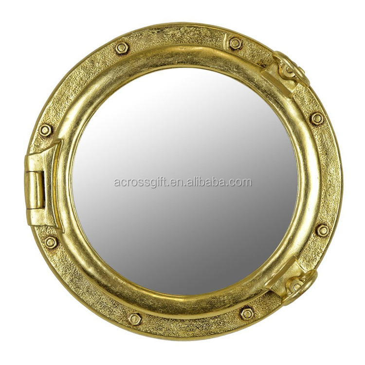 hot sale personalized handmade color painted home decorative Resin Gold Finish Porthole Mirror