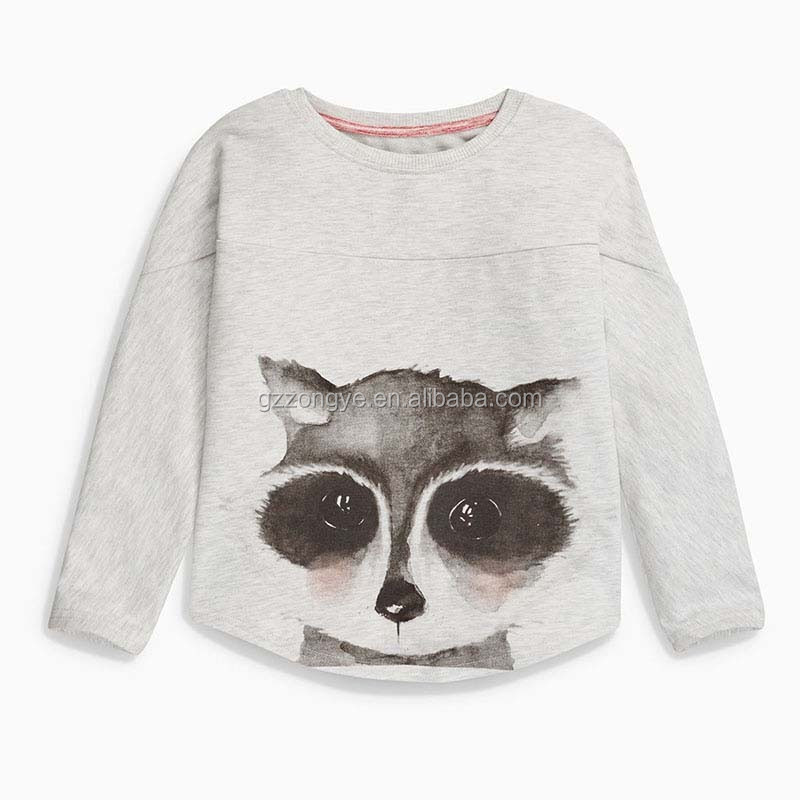 Sweet cat pattern kids basis o-neck t-shirt