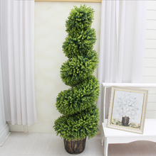 Faux plastic material artificial topiary spiral tree