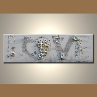 modern handmade home craft canvas painting decor with flower