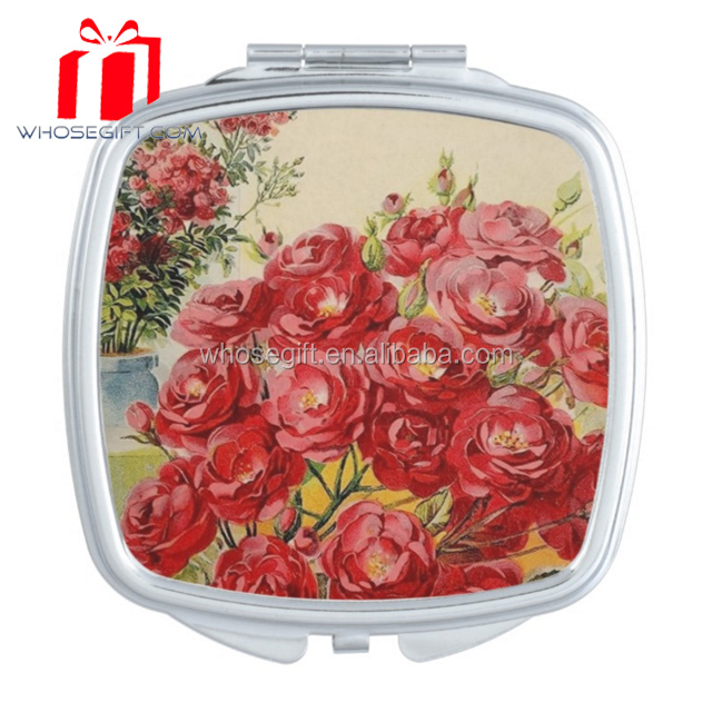 Wholesale fancy personalized red round metal makeup mirror