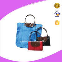 Customized high quality foldable polyester shopping bag with leather or PU hand