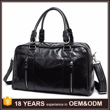Black Weekender Travel Duffle Gym Sports leather duffle bag for men