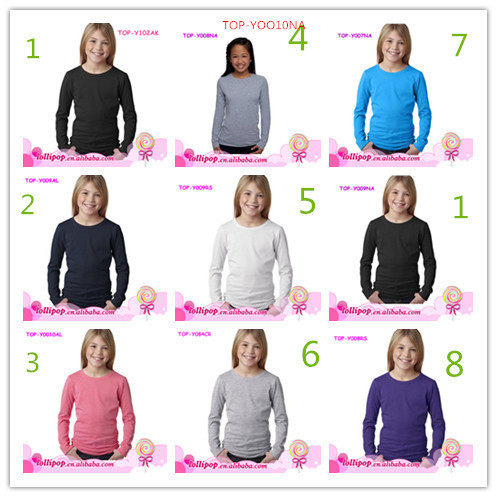 Wholesale cheap white 100 cotton blank boutique shirts long sleeve children t-shirts