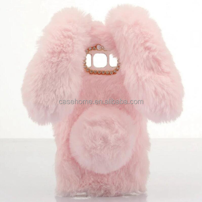 For samsung galaxy s8 s8 plus lovely ball rabbit ears fur hair phone case support customized