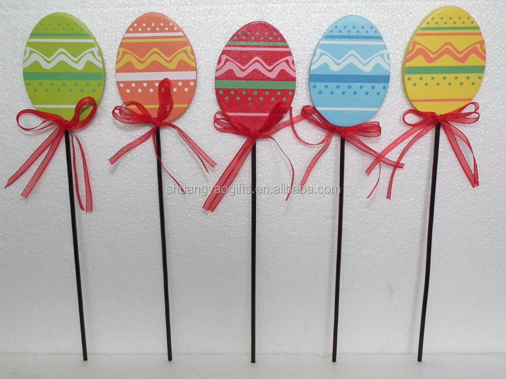 easter wooden eggs stick decoration with printing wooden crafts egg stick for plant ornaments,wooden egg stick gifts