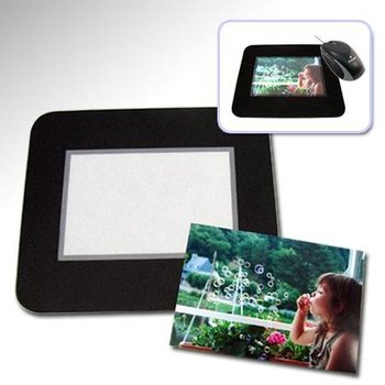 Mouse pad with photo window business card holder photo insert mouse pad give away mouse pad