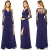 New style women sexy lace chiffon evening long dresses fashion formal party cocktail muslim long sleeve maxi dress