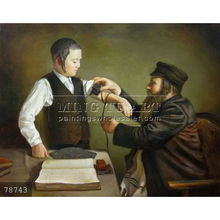 Hand painted Judaica oil painting Jewish Art on canvas, First Adornment Of Tephilin