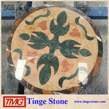Natural stone waterjet table tops round shape for hotel project