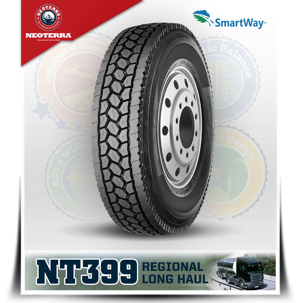 Chinese New brand NeoTerra truck tyre with quality warranty,TBR 11R22.5 with overload ability,Mix road condition drive position