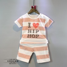 Factory Supply Soft Washable Casual Letter Stripes Printed Kids Clothes Clothing Set