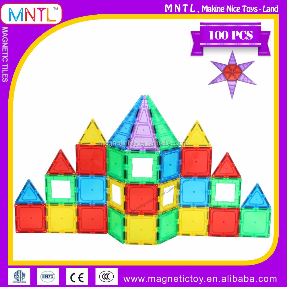 MNTL 100-Pieces Clear Magnetic Panels Magna Tile Toys for Kids to Play Study Educational 3D Models