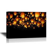 Home decoration Lanterns Flying in the Sky in the Night digital printing canvas