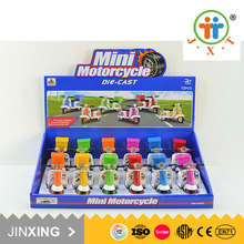 hot selling colorful safe cheap mini motorcycle metal pull back toy car for kids