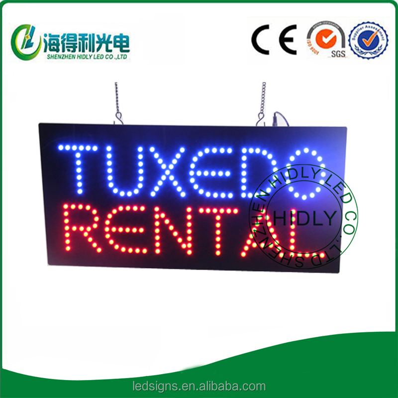 Custom pattern with TUXEDO RENTAL word for window advertising led store sign for high brand