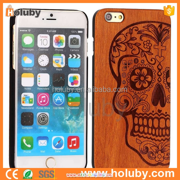 Wholesale Cell Phone Accessories Funny Skull patern Cheap Wooden Wholesale Cell Phone Accessories In China For Iphone6 Case