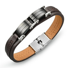 new fashion design gold bio magnetic leather bracelet for men leather cuff bracelet