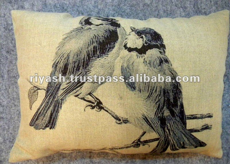 Loving Bird Image Printed Linen Cushion Cover