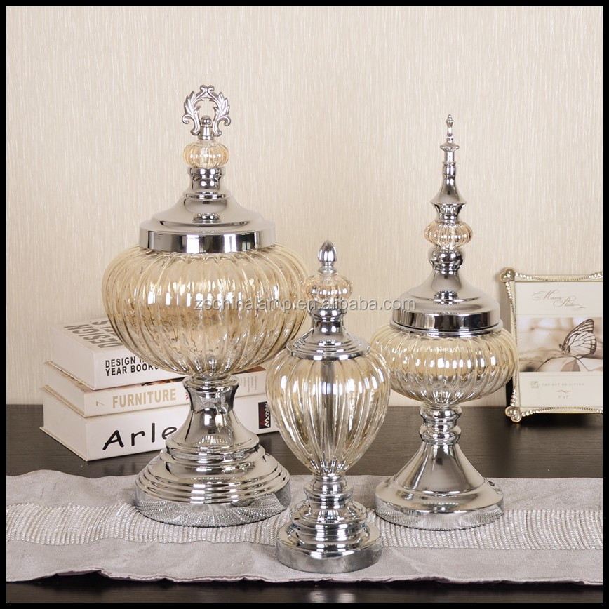 Wholesale Luxury Glass Storage Jar With Brown Bowl ,Metal Lid And Stand For Home Modern Decor And 5 Star Hotel Furniture