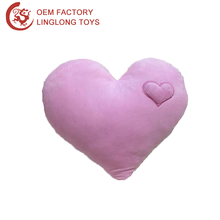 Pink Plush Heart Shaped Pillow Pure Color Soft Plush Heart Pillow Washable Lovers 3D Heart Pillow