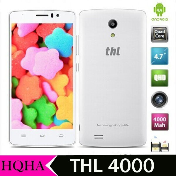 THL 4000 MTK6582 Quad Core Phone 1.3GHz Android 4.4 Smartphone 1GB+8GB 4.7 Inch Screen 3G WCDMA Mobile Phone 4000mAh Battery