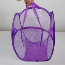 china Factory Cheap Polyester rectangle folding net laundry basket
