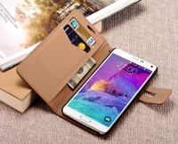 New universal smart phone wallet style leather case / genuine leather wallet phone case for samsung note 4