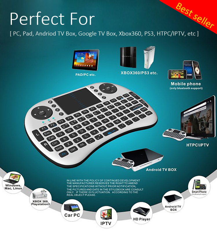 2.4G mini wireless keyboard mouse with touch pad airmouse keyboard
