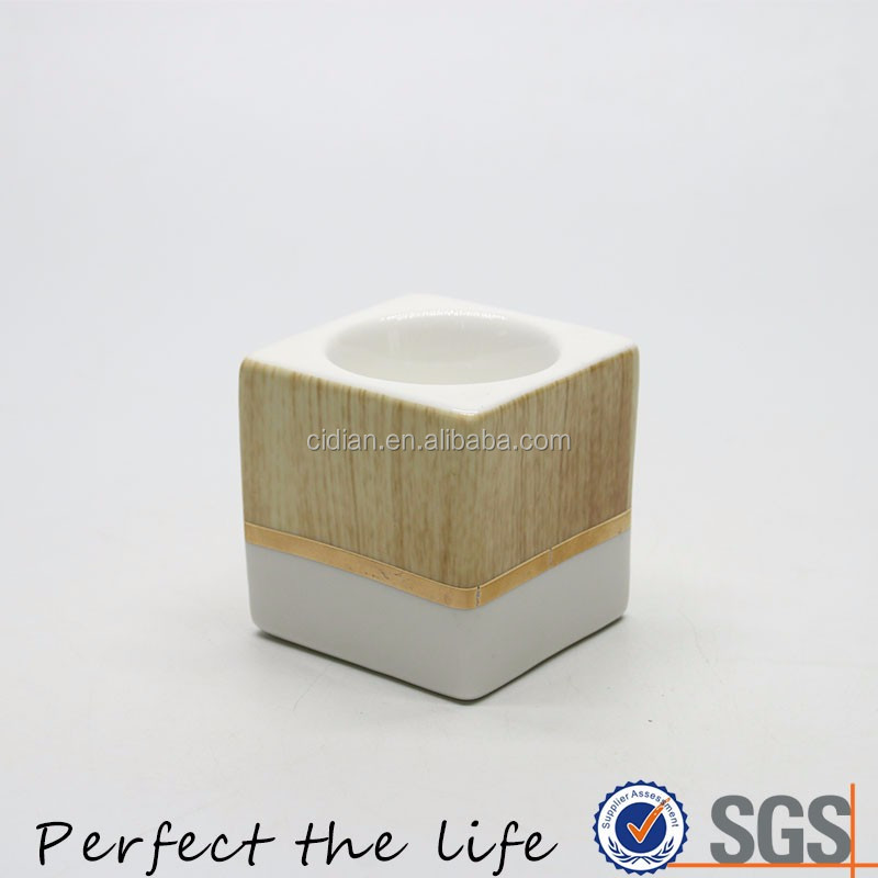 Ceramic square tealight porcelain candle holder with wooden printing