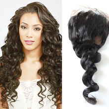 Loose wave 10-20inch peruvian 360 lace frontal closure 100% virgin human hair full lace band closure
